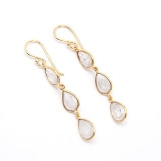 Sitara Goldplated Rainbow Moonstone 3-tier Dangle Earrings (India)