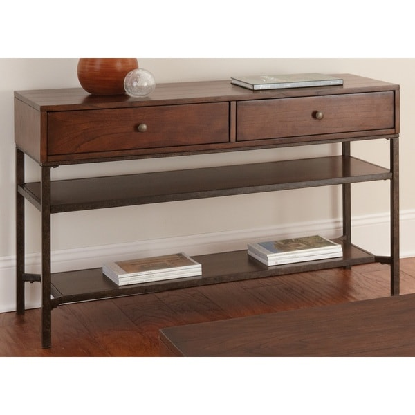 Hammond Medium Cherry 2-drawer Sofa Table