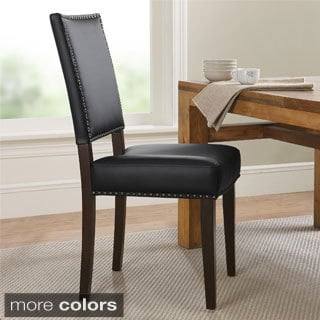 Dorel Living Contemporary Faux Leather Parsons Chair with Nailheads
