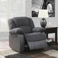 Grey Microfiber and Faux Leather Recliner