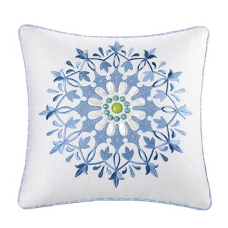 Echo Sardinia Cotton Square Embroidered 18-inch Pillow