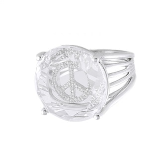 Beverly Hills Charms Sterling Silver 1/8ct TDW Diamond and White Topaz Peace Sign Ring (H-I, I2-I3)