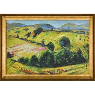 Alfred Maurer 'Fauve Landscape with Rolling Hills' Hand Painted Framed Canvas Art