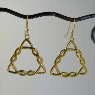 Bali Goldtone Triskelion Dangle Earrings (Indonesia)