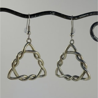 Celtic Knot Triangle Dangle Earrings (Indonesia)