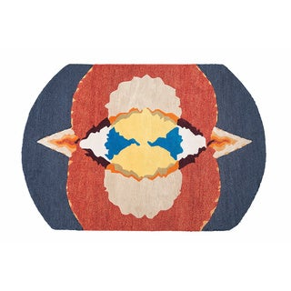 ARTAJUL Blue with Red Geometric Wool Designer Rug (3'6 x 5')
