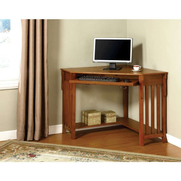 Herne Oak Corner Desk with Keyboard Tray