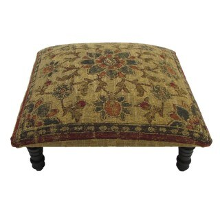 Floral design Hand-woven Tan Footstool