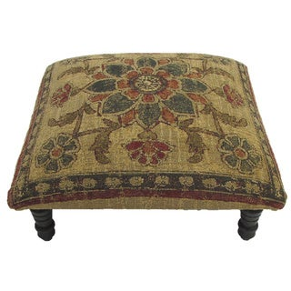 Corona Decor Floral and Leaf design Hand-woven Footstool