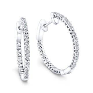 Platinum Silver 1/4ct TDW White Diamond Polished Hoop Earrings (H-I, I1-I2)