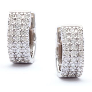 14k White Gold 1/2ct Pave Diamond Cuff Hoop Earrings (G-H, SI)