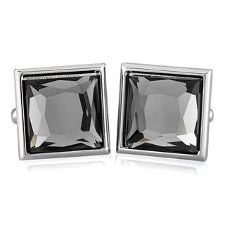 Silvertone and Faceted Crystal Square Cuff Links