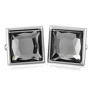 Base Metal Faceted Crystal Square Cuff Links