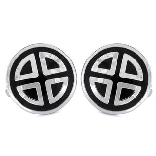 Silvertone and Black Enamel Geometric Round Cuff Links