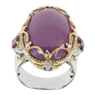 Michael Valitutti Two-tone Phosphosiderite, Rhodolite and White Sapphire Ring
