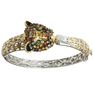 "Michael Valitutti Two-tone Multi-Sapphire and Chrome Diopside ""Panther"" Bracelet"
