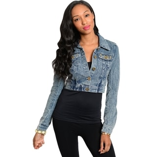 Stanzino Women's Long Sleeve Cropped Denim Jacket