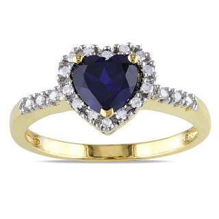 Miadora Yellow Plated Silver Created Blue Sapphire and 1/10ct TDW Diamond Ring (H-I, I2-I3)