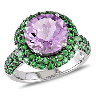 Miadora Sterling Silver 5 1/8ct TGW Rose de France and Tsavorite Cocktail Ring