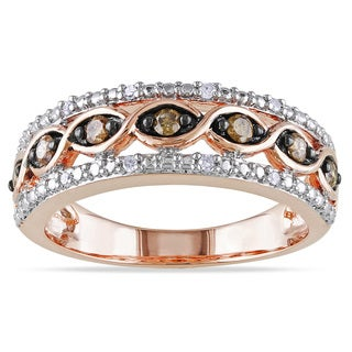 M by Miadora Rose Plated Silver 1/4ct TDW Brown and White Diamond Ring (H-I, I2-I3)