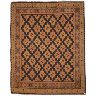 Herat Oriental Afghan Hand-woven Soumak Navy/ Grey Wool Rug (7'3 x 8'10)