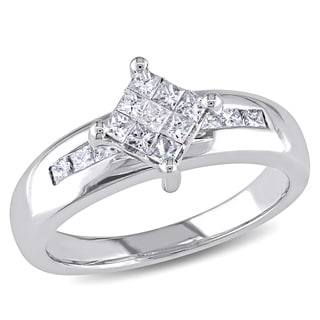 Miadora 10k White Gold 1/2ct TDW Princess-cut Diamond Composite Ring (G-H, I1-2)