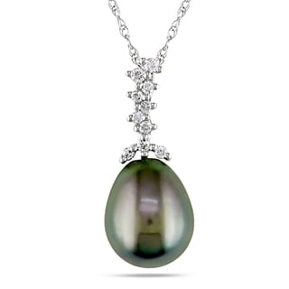Miadora 10k White Gold 1/10ct TDW Tahitian Black Pearl Drop Necklace (H-I, I2-I3) (9.5-10 mm)