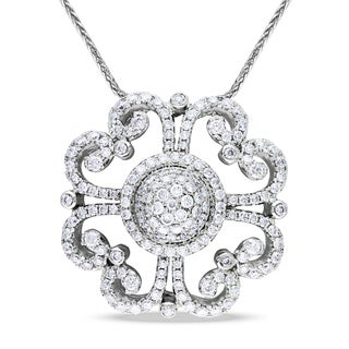 Miadora 14k White Gold 1 1/3ct TDW Diamond Flower Necklace (G-H, SI1-SI2)