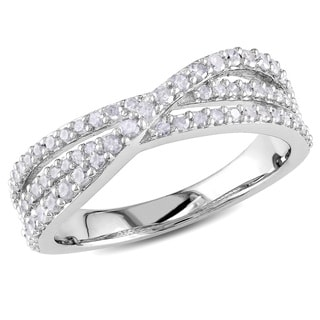 Miadora Sterling Silver 1/2ct TDW Diamond Ring (H-I, I2-I3)