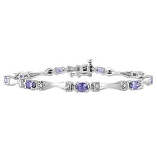 Miadora Sterling Silver Tanzanite and 1/10ct TDW Diamond Bracelet (H-I, I2-I3)