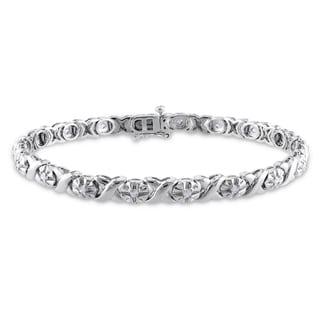 Miadora Sterling Silver 1/2ct TDW Diamond Tennis Bracelet (K-L, I2-I3)