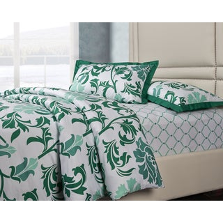 Image by Charlie Green/White Cotton 3-piece Trellis Duvet Cover Set