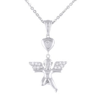 Beverly Hills Charm 1/5ct TDW Sterling Silver Cupid Angel Diamond Necklace (H-I, I2-I3)