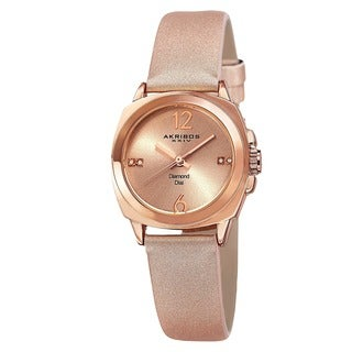 Akribos XXIV Women's Swiss Quartz Diamond-Accented Satin Strap Watch