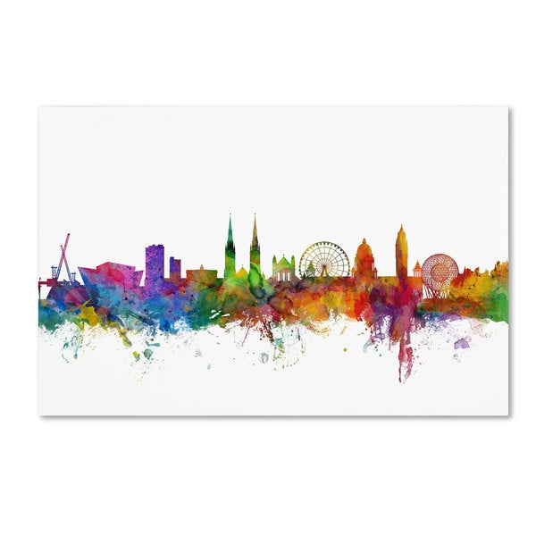 Michael Tompsett 'Belfast Northern Ireland Skyline II' Canvas