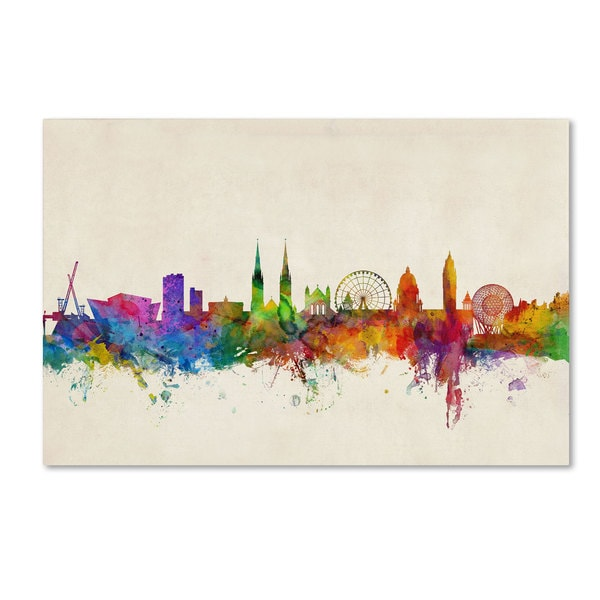 Michael Tompsett 'Belfast Northern Ireland Skyline' Canvas