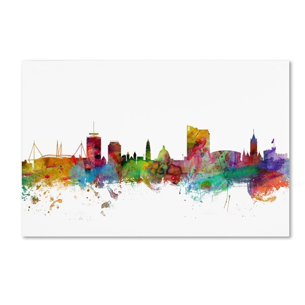 Michael Tompsett 'Cardiff Wales Skyline II' Canvas Art