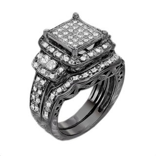 Black-plated Sterling Silver 3/4ct TDW Diamond Ring (G-H, I1-I2)
