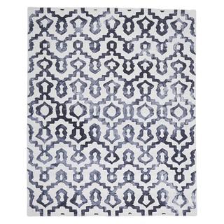 Lazza Hand-hooked Black/ White Ikat Wool Area Rug (8'x10')