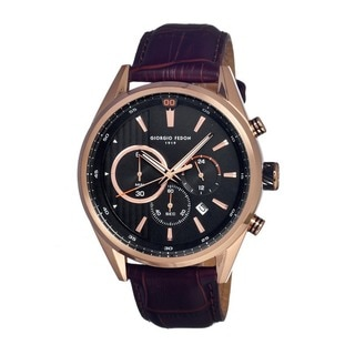 Giorgio Fedon 1919 Men's Vintage Vi Leather Dark Brown Analog Watch
