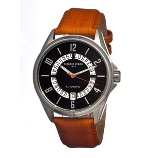Giorgio Fedon 1919 Men's Mechanical Iii Black Leather Orange Analog Watch