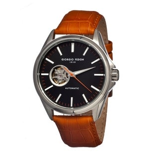 Giorgio Fedon 1919 Men's Mechanical Iv Black Leather Orange Analog Watch