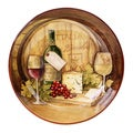 Hand-painted Wine Map 13.25-inch Ceramic Serving Bowl