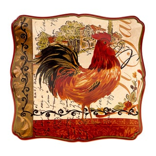Tuscan Rooster 14.5-inch Square Platter