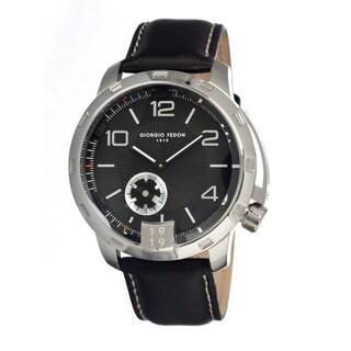 Giorgio Fedon 1919 Men's Timeless Ii Black Leather Black Analog Watch