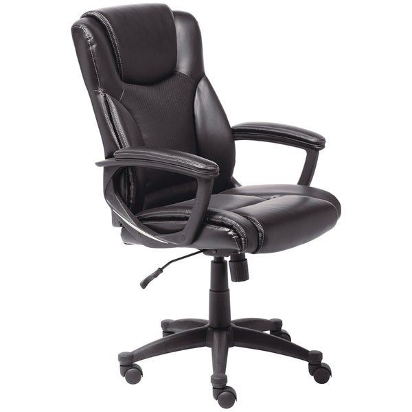 Serta Black Supple Bonded Leather Executive Office Chair