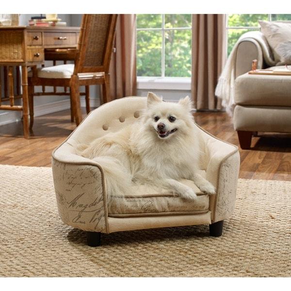 Enchanted Home Pet Ultra Plush French Script Cream Headboard Pet Bed