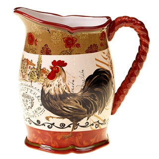 Hand-painted Tuscan Rooster 3-quart Ceramic Pitcher