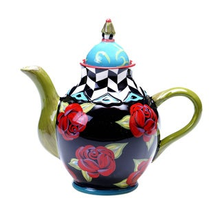 Hand-painted Classic Rose 40-ounce Ceramic Teapot