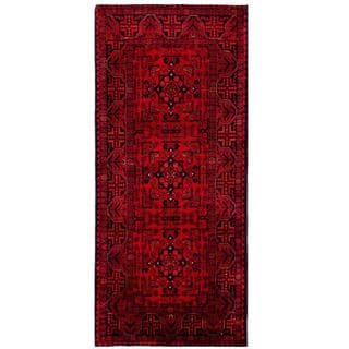Herat Oriental Afghan Hand-knotted Tribal Khal Mohammadi Red/ Navy Wool Rug (2'9 x 6'3)